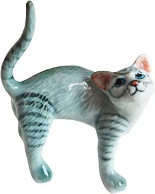 Cozinest Cat Porcelain Figurine Ceramic Stretching Kitten Small Pet Kitty Collectible Miniature Dollhouse Hand Painted Animal Interested Feeling Gift Decor Calico Gray Tabby