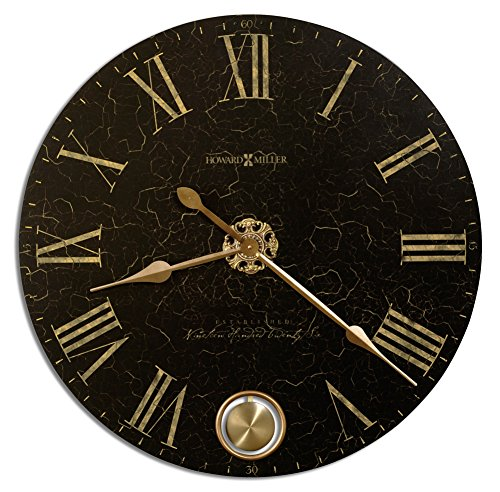 Howard Miller London 620-474 - Reloj de pared de noche de gran tamaño, acabado en negro con movimiento de cuarzo