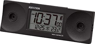 リズム(RHYTHM) 目覚まし時計 大音量 電波 デジタル フィットウェーブバトル100 温度 曜日 カレンダー 黒 RHYTHM 8RZ192SR02