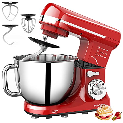 FIMEI Stand Mixer, 5.5 Qt Food Mixer, 6-Speed Tilt-Head Kitchen Mixer with Stainless Steel Bowl (Dough Hook and Beater with Ceramic Glaze, Whisk), Lower Noise, Anti-Slip (Red)