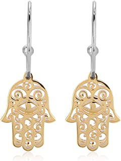 Yellow Gold & Silver Plated Two Tone 925 Sterling Silver Light Weight Hamsa Half Hoop Earrings for Women and Girls