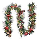 Valery Madelyn Pre-Lit 9 Feet Traditional Red Green Gold Christmas Garland for Front Door with Ball Ornaments, Battery Operated 20 LED Lights for Outdoor Christmas Tree Mantel Fireplace Decor