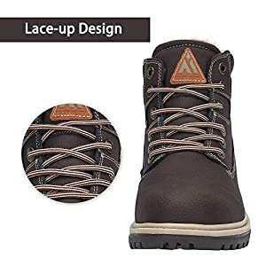 Mens Womens Winter Snow Hiking Boots Water Resistant Fur Lined Non Slip Leather Ankle Shoes Dark Brown 8.5 Women/7 Men