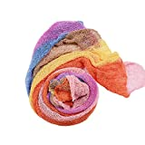ISOCUTE Newborn Girl Photography Prop Stretch Rainbow Wrap Blanket Crochet Knit Baby Photo Outfit