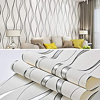 Wall Stickers & Murals Simple 3D Water Ripple Non-Woven Wallpaper Home Decoration Wall Sticker(White) Home Décor (Color : ...