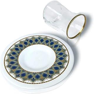 Divine 1112 Turkish Tea Glass & Saucer for 6 People (12 Pcs)