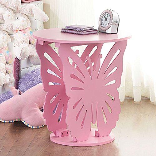 Top Home Solutions® Kinderzimmertisch mit Schmetterlingsmotiv aus Holz, rund rose