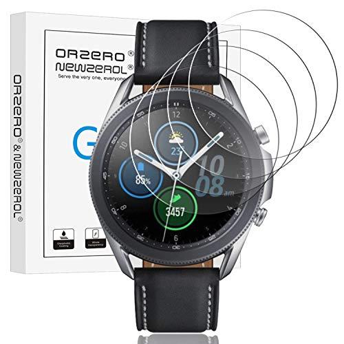 NEWZEROL 4 Stücke Kompatibel für Samsung Galaxy Watch 3 45mm Panzerglas [Geprüft] LTE/Bluetooth/SM-R8450/SM-R840N aus gehärtetem Glas, Hochauflösende Bildschirmschutzfolie Blasenfreie Schutzfolie
