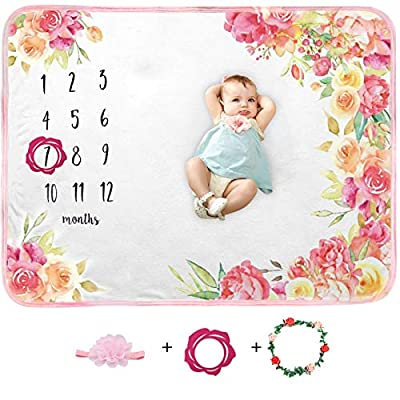 Amazon - Save 67%: Baby Monthly Milestone Blanket, Organic Plush Baby Monthly Blanket for Baby…