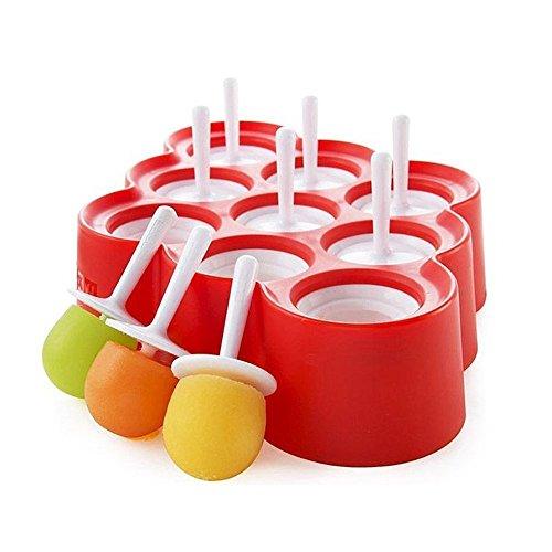 Kenmont 9pcs Ice pop mold Moule à glace Popsicle Moule à Crème Glacée Ice Lolly Molds Moules sorbets Sucettes Outils pour fête Cadeaux d'anniversaire Jouets (Rouge)
