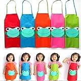 Tablier Cuisine Enfant Peinture Maternelle Dessin Grenouille Blouse vert