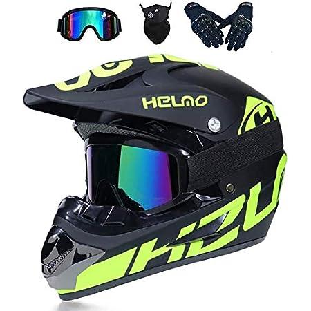 Crosshelm Motocross Downhill Enduro Helm Integralhelm Full Face Off Road Motorrad Cross Helme Mit Visier Brille Maske Handschuhe Motorbike Freien Sport Motorcycle Helmet Set B S Auto