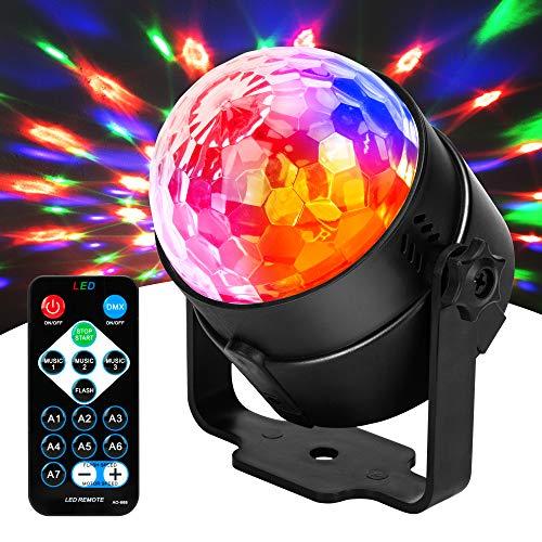 JYX Sound Activated Dicso Light, USB DJ Light, Disco Ball, Strobe Lamp 7 Modes Stage Par Light for Home Room Dance Parties Birthday DJ Bar Karaoke Xmas Wedding Show Club Pub