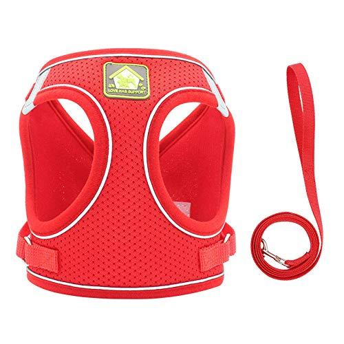 Arnés Reflectante Transpirable Ajustable para Mascotas para Chaleco de arnés para Perros pequeños y Grandes con Parche Personalizado-Red_s_3-6_1.5-3KG