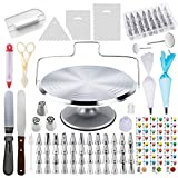78 Piece Cake Decorating Supplies Kit | Aluminium Rotating Turntable Stand, Frosting & Piping Tips,...