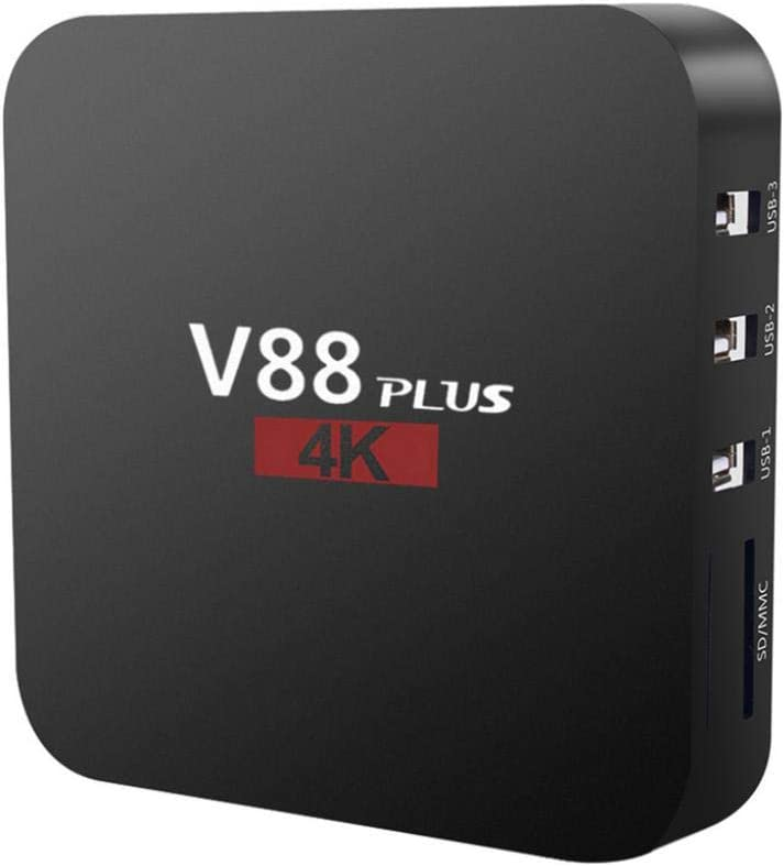 Difcuy 4K Ultra HD TV Box,V88 Plus Rockchip 3229 Quad-Core 1080P 2+16GB Mali-400MP2 GPU 2.4G WiFi 3D Miracast TV Set Top Box for Android 7.1,US Plug