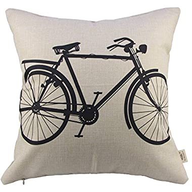 SIXSTARS Decorative Linen Cloth Pillow Cover Cushion Case Bicycle, 18  x 18