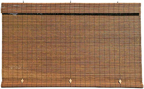 Radiance - Imperial Matchstick Cord Free Roll-Up Shade, Fruitwood 72 Inches x 72 Inches