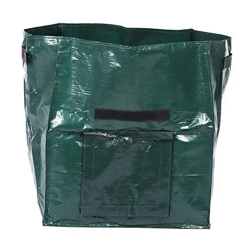 Una bolsa de plantación de papa verde, una bolsa de césped de jardín para almacenamiento en interiores y exteriores, una bolsa de basura de jardín plegable reutilizable