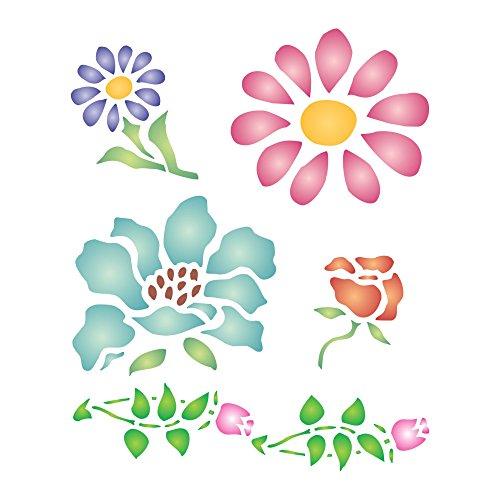 Plantilla de flores – 8 x 10 cm (S) – reutilizable pequeña flora flor hoja brotes plantilla de pared plantilla de pared.