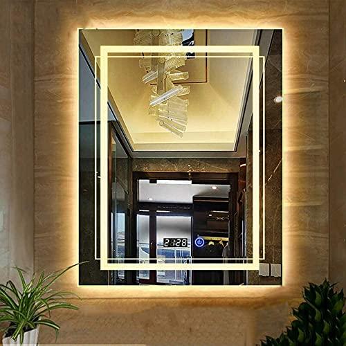 NMDCDH Espejo de baño con iluminación LED, Espejo de tocador Rectangular sin Marco montado en la Pared, Interruptor táctil + Pantalla de Tiempo + Fuente de alimentación Ip67, 60 * 80 cm