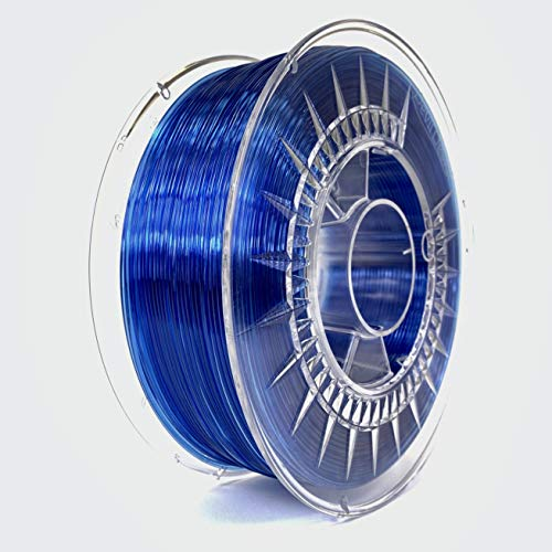 Devil Design | Filament | PETG super blue transparent - dunkel blau transparent | 1.75 | 1kG | für Anfänger und Fortgeschrittene | Top Haftung | wenig Stringing | leicht zu drucken