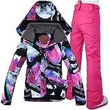 Ropa de esquí Nieve Mujeres Trajes de esquí de invierno snowboard chaquetas y pantalones Set Mujer chaqueta y pantalones de esquí chaqueta de esquí de invierno Conjunto de nieve Escudo Trajes de esquí