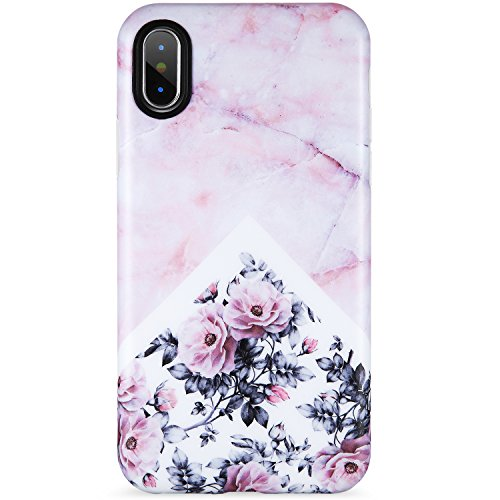 VIVIBIN iPhone X XS Case for Girls,Cute Pink Marble Flower for Women Clear Bumper Soft Silicone Rubber Matte TPU Cover Slim Fit Best Protective Thin Phone Case for iPhone X XS 5.8 inch