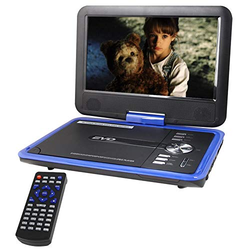 Buyee Handheld Portable DVD Player 9.5 Inch 270 Degree Swivel Screen Support Analog Tv Vcd cd mp3 mp4 usb Sd Card Slot Card Reader Game fm Radio with Game Controller and Remote Controller (Blue)