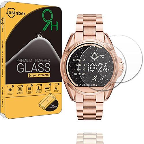 Jasinber [2-Pack] Mica Cristal Templado Protector de Pantalla para Smartwatch Michael Kors Access Bradshaw MKT5001 5004 5006 5012