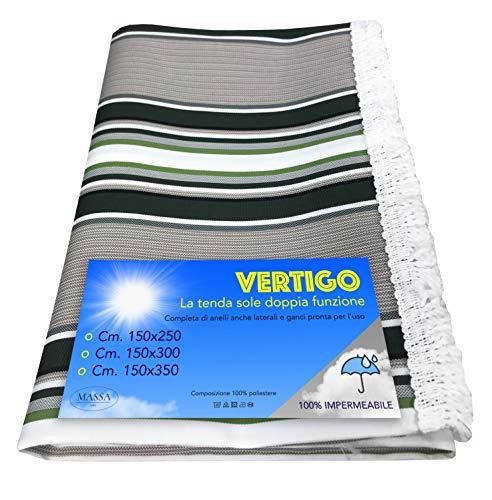Vertigo Tente solaire d'extérieur, jardin, balcon, vert, imperméable et hydrofuge (150 x 300 cm)