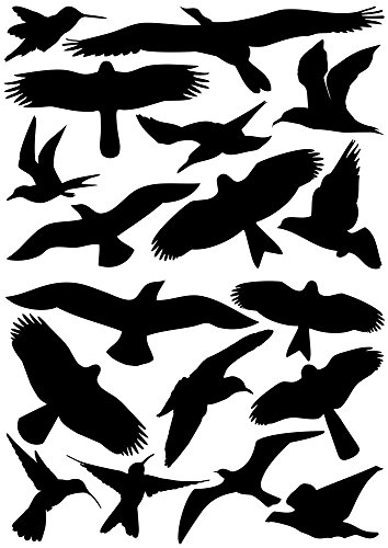 18 Vogelaufkleber + gratis Rakel für Fenster, Wintergärten, Glashäuser zum Vogelschutz, Warnvogel , Fensterschutz PREMIUM Oracal Folie (schwarz)