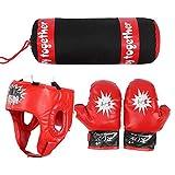 TANKE Juego de saco de boxeo para niños con diseño de lucha, color rojo