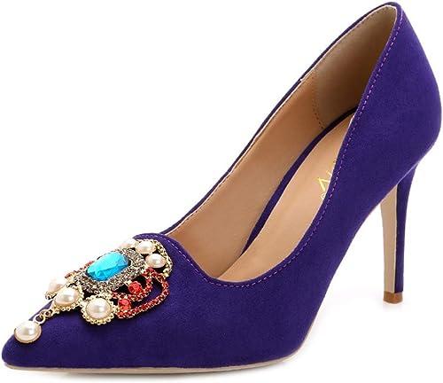 LHWAN Chaussures de mariée mariage en daim strass bout pointu femme robe de soirée à talons hauts chaussures à talons hauts