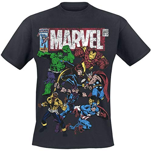 Marvel Team Up Männer T-Shirt schwarz M 100% Baumwolle Fan-Merch, Filme, Comics