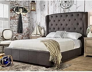 Furniture of America Callista Flax Fabric Bed with Wingback Tufted Headboard Design, California King, Gray