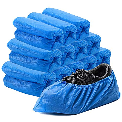 Qcreater Disposable Shoe Covers, 200 Pack (100 Pairs) Non Slip CPE Waterproof Shoe Covers for Rainy Days