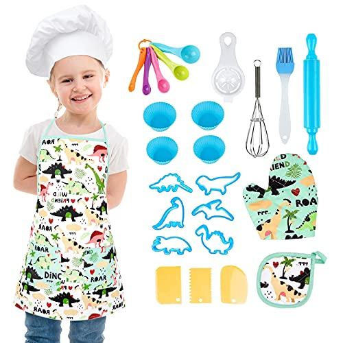 Starpony Kids Cooking and Baking Set - 26 Pcs Chef Role Play Kitchen Toys with Dinosaur Apron Chef Hat Mitt for 3+ Year Old Girls Boys