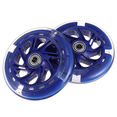 BESPORTBLE 2Pcs LED Leuchten Roller Räder Blinkende Räder Ersatz PU Leder für Inline-Skate- Und Kick-Scooter-Teile Zubehör Blau 120X24mm