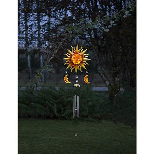 Kamaca LED Solar Windspiel Sun ADN Moon aus Edelstahl und Glas mit Amber LED Lampe Dämmerungssensor Solarpanel (Sun and Moon)