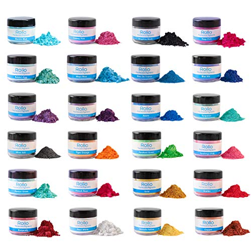 Rolio Mica Powder - 24 Pearlescent Color Pigments for Paint, Dye, Nail Polish, Makeup, Epoxy Resin, Candle Making, Bath Bombs, Soap Colorant, Slime (24 Color Jars)