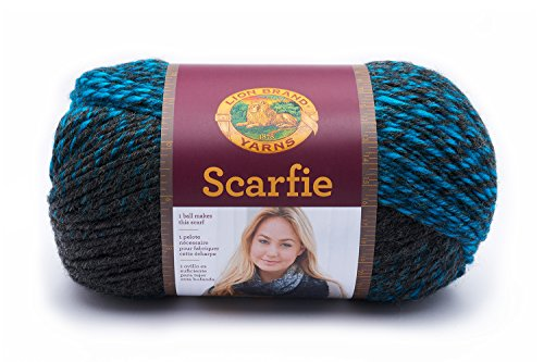 Lion Brand Yarn 826-209 Scarfie Yarn, One Size, Charcoal/Aqua