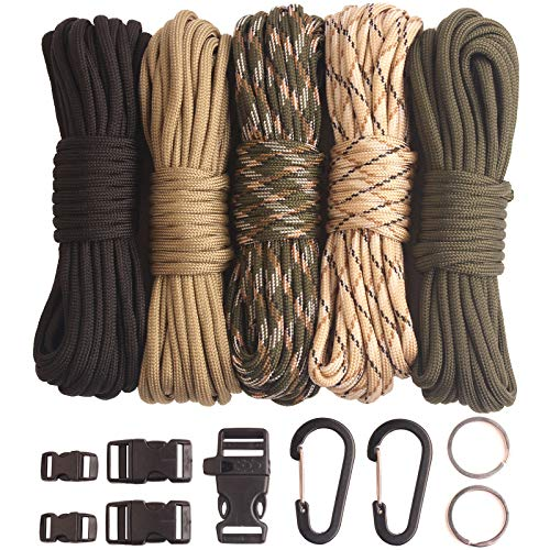 GeGeDa Paracord,Paracord 550 Combo Crafting Kits with 5 Types Buckles,20 Feet Each Paracord Rope (A Set 100feet)