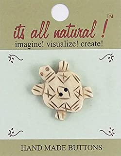 Bone Buttons-Antique Ivory-Happy Turtle - 1 pc/pk. Natural Handmade.