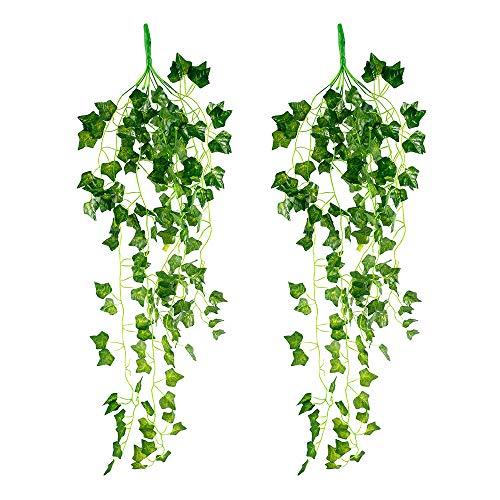 2PCS Artificial Ivy Garland, 100CM Hanging Vine Wedding Garland Indoor UV Resistant Artificial Vines Home kitchen Ivy Leaves Bedroom Hanging Vines for Wedding Party Garden Wall Decoration