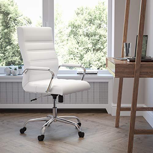 Flash Furniture Bürostuhl mit hoher Rückenlehne – Bequemer Schreibtischstuhl mit Armlehnen, LeatherSoft-Material und Rollen – Perfekt für Home Office oder Büro – Weiß