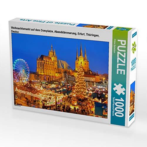 CALVENDO Puzzle Weihnachtsmarkt auf dem Domplatze, Abenddämmerung, Erfurt, Thüringen, Deutsc 1000 Teile Lege-Größe 64 x 48 cm Foto-Puzzle Bild von Prime Selection Kalender