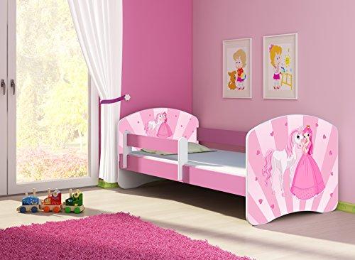 Clamaro 'Fantasia Pink' 140 x 70 Kinderbett Set inkl. Matratze und Lattenrost, mit verstellbarem Rausfallschutz und Kantenschutzleisten, Design: 08 Prinzessin Einhorn