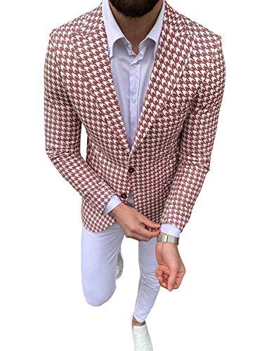 HOTK Hombre Chaqueta de Pata de Gallo por Encargo con Pantalones Blancos para Fiesta de Bodas Prom Trajes de 2 Piezas Hermosos