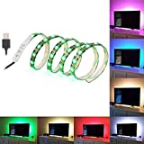 SOLLED Bias Lighting for HDTV 60 LEDs TV Backlight, 3.28Ft Ambient TV Lighting Multi-Colour Flexible 5050 RGB USB LED Strip, Best for Flat Screen/HDTV/LED Desktop/PC Monitor Background Lighting